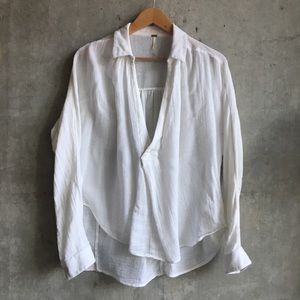 Free People | white collared knit blouse
